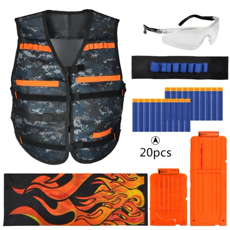 VGEBY Tactical Vest Kit, Black tactical vest Soft gun tactical equipment set Cartridge Holder Soft Bullets Vest Portector Toy Gun Accessory