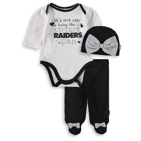 Girls Infant White/Black Oakland Raiders Bodysuit, Pants & Cap Set