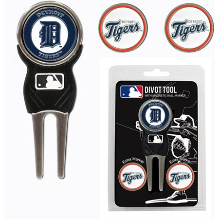 Team Golf MLB Detroit Tigers Divot Tool Pack With 3 Golf Ball Markers