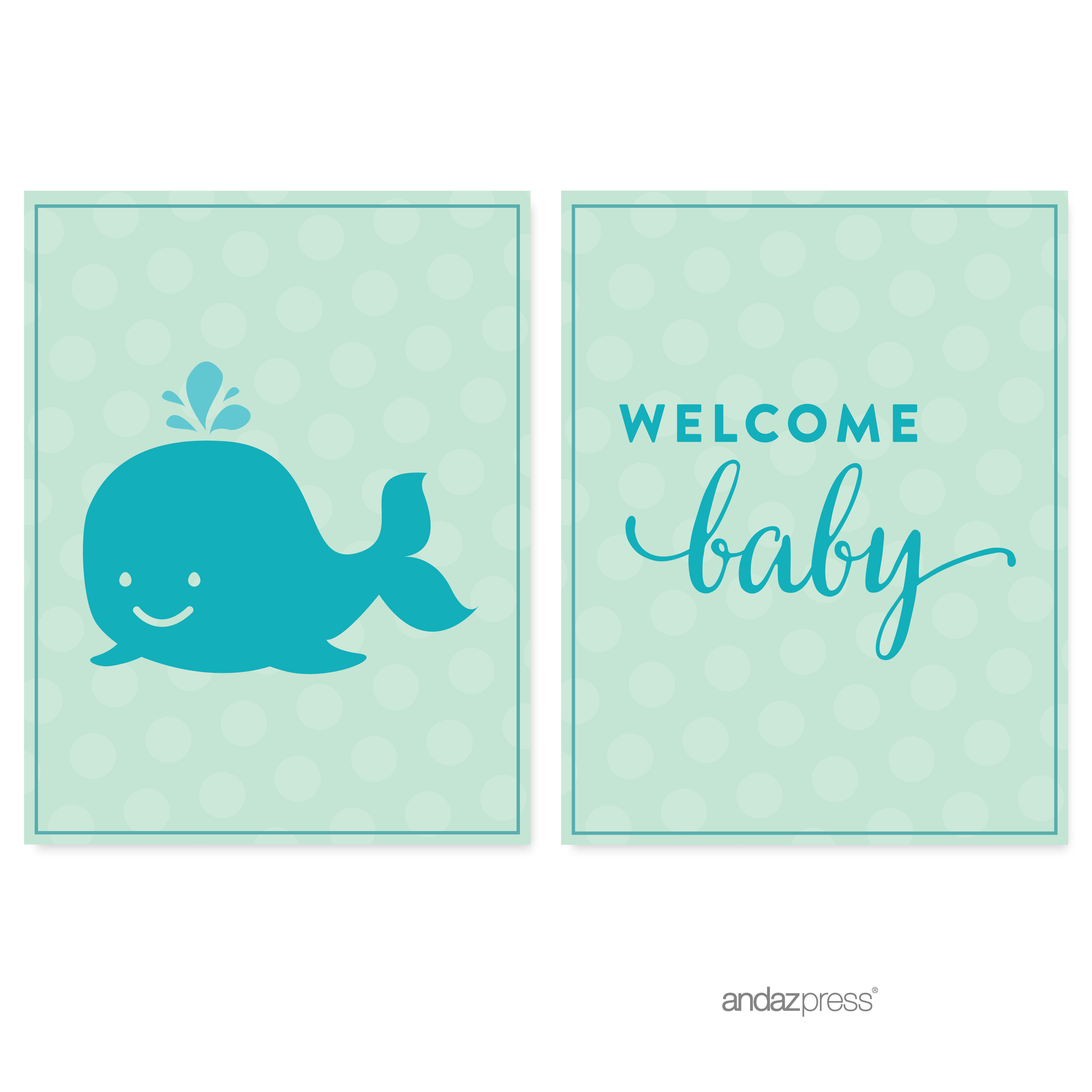 Boy Whale Nautical Baby Shower Party Signs & Banner Decorations, 20-Pack