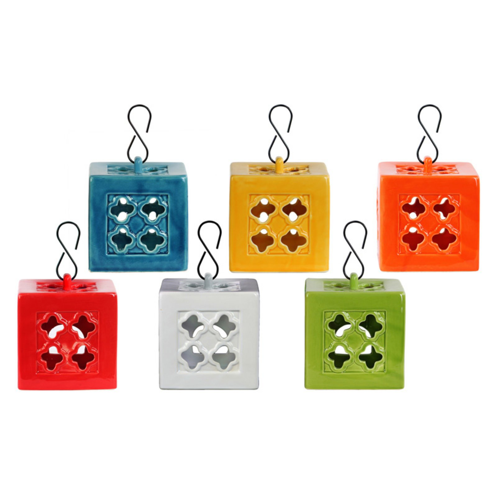 Urban Trends Collection: Ceramic Lantern, Gloss Finish, White, Red, Orange, Yellow, Green