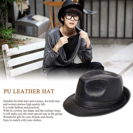 Male Female British Style Simple All-Match PU Leather Hat Cowboy Hat Formal Hat Autumn And Winter Curling Verge - image 5 of 8