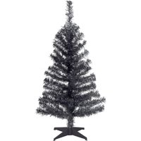 National Tree 3' Black Tinsel Tree with Plastic Stand
