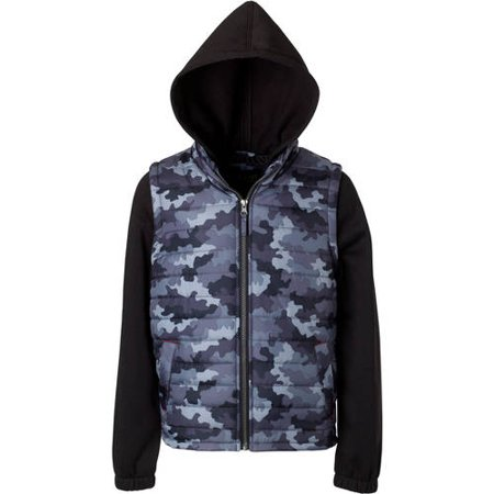 iXtreme Boys' Camo Print Vest With Fleece Hood And Sleeves thumbnail