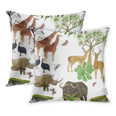 BSDHOME Safari Watercolor Painting Giraffe Rhinocero Gazelle Butterflies Acacia Trees Pillow Case Pillow Cover 18x18 inch Set of 2 - image 1 of 1