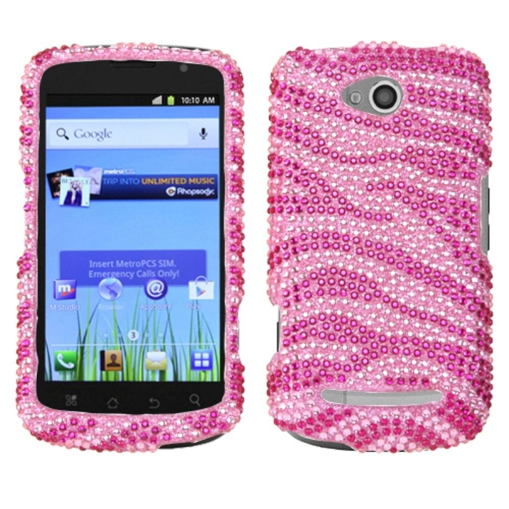 Insten Zebra Hard Rhinestone Cover Case For Coolpad Quattro 4G 5860E - Hot Pink/Pink