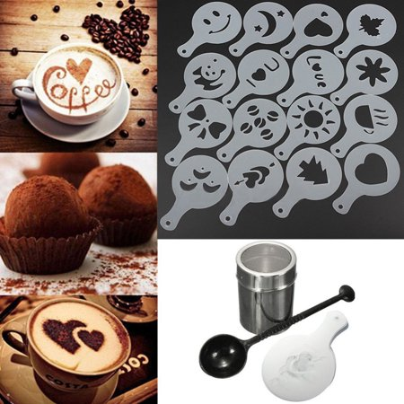 Girl12Queen Chocolate Shaker Duster 16Pcs Cappuccino Coffee Stencils Spoon Coffee Kit Set