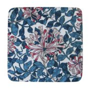 """Pack of 8 Absorbent Blue and Red Abstract Floral Print Cocktail Drink Coasters 4"""""""