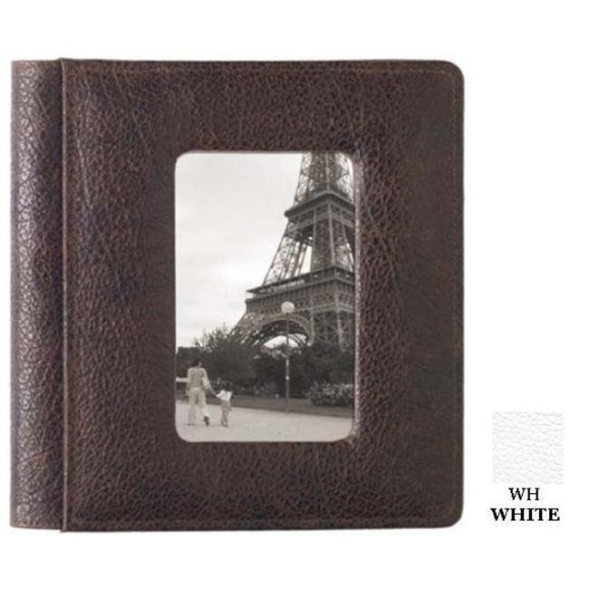 Raika WH 169 WHITE 4inch x 6inch Front Framed Single Photo Album - White