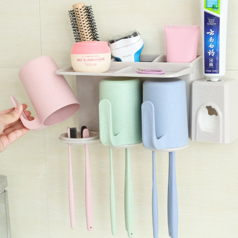 Wall Mounted Natural Wheat Straw Gargle Cups with Automatic Toothpaste Dispenser Set for Family Today's Specials