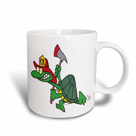 Fire Turtle (3dRose Funny Fireman Firefighter Turtle Cartoon, Ceramic Mug,)