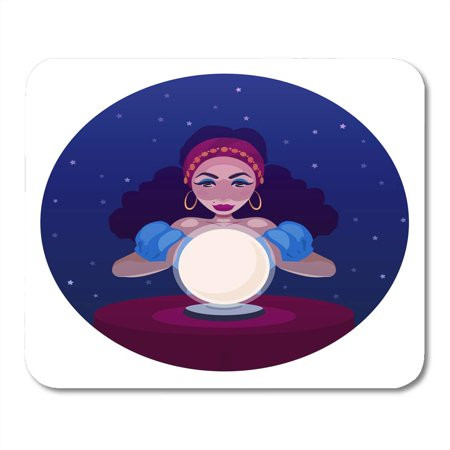 SIDONKU Gypsy Fortune Teller with Crystal Ball and Table Cartoon of Woman Oracle Girl Witch Predicts Fate Mousepad Mouse Pad Mouse Mat 9x10 inch (Witch With Crystal Ball)