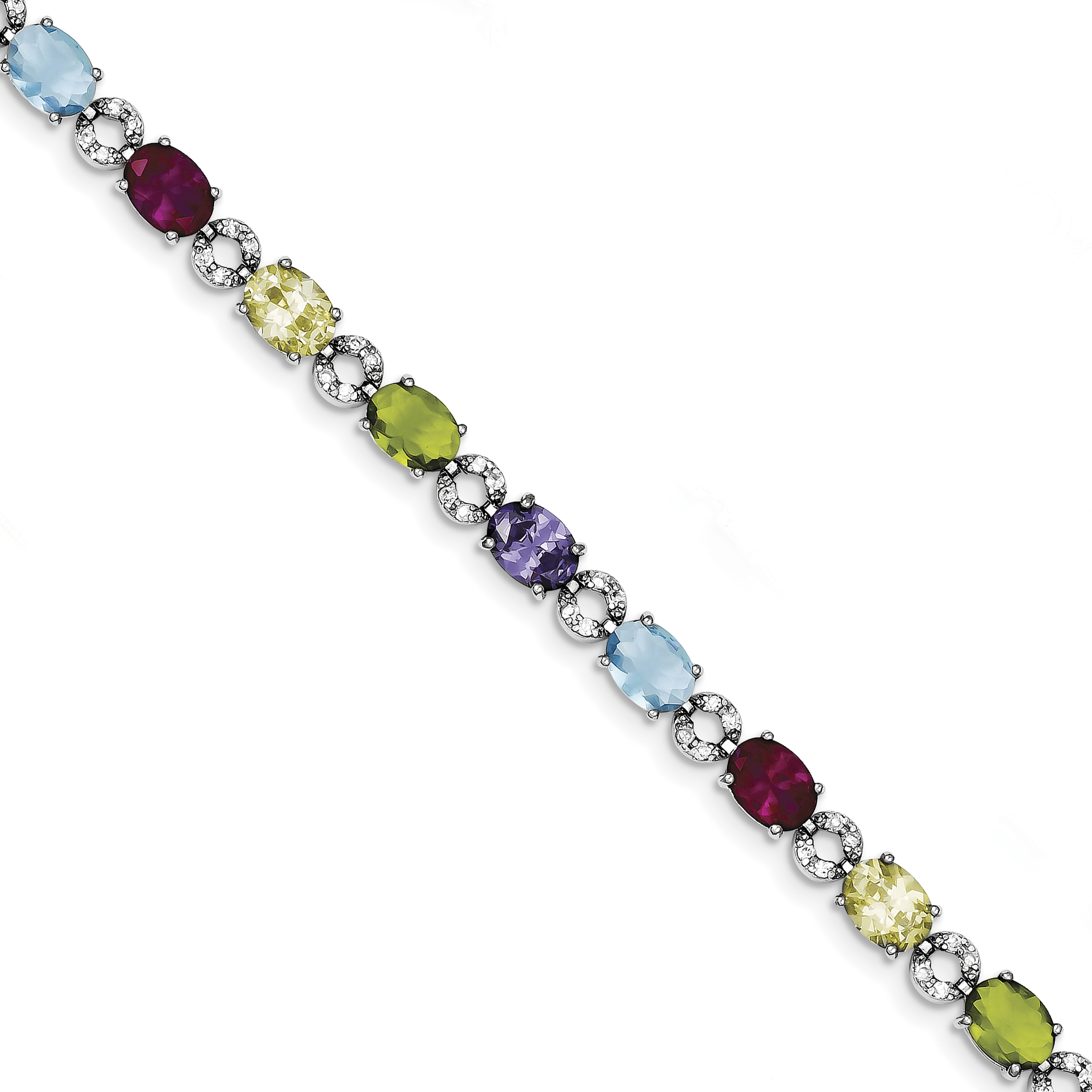 Roy Rose Jewelry Sterling Silver Multicolor CZ Bracelet ~ Length 7'' inches