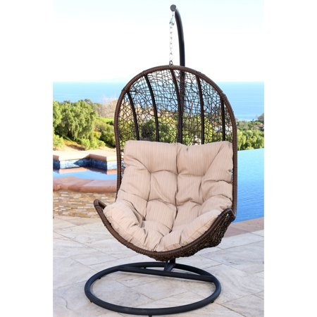 Abbyson Cate Outdoor Wicker Egg Shaped Swing Chair with Stand and Cushion