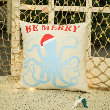 Glitzhome Christmas Octopus Design Sofa Decorative Throw Pillow Cushion Cover, 18