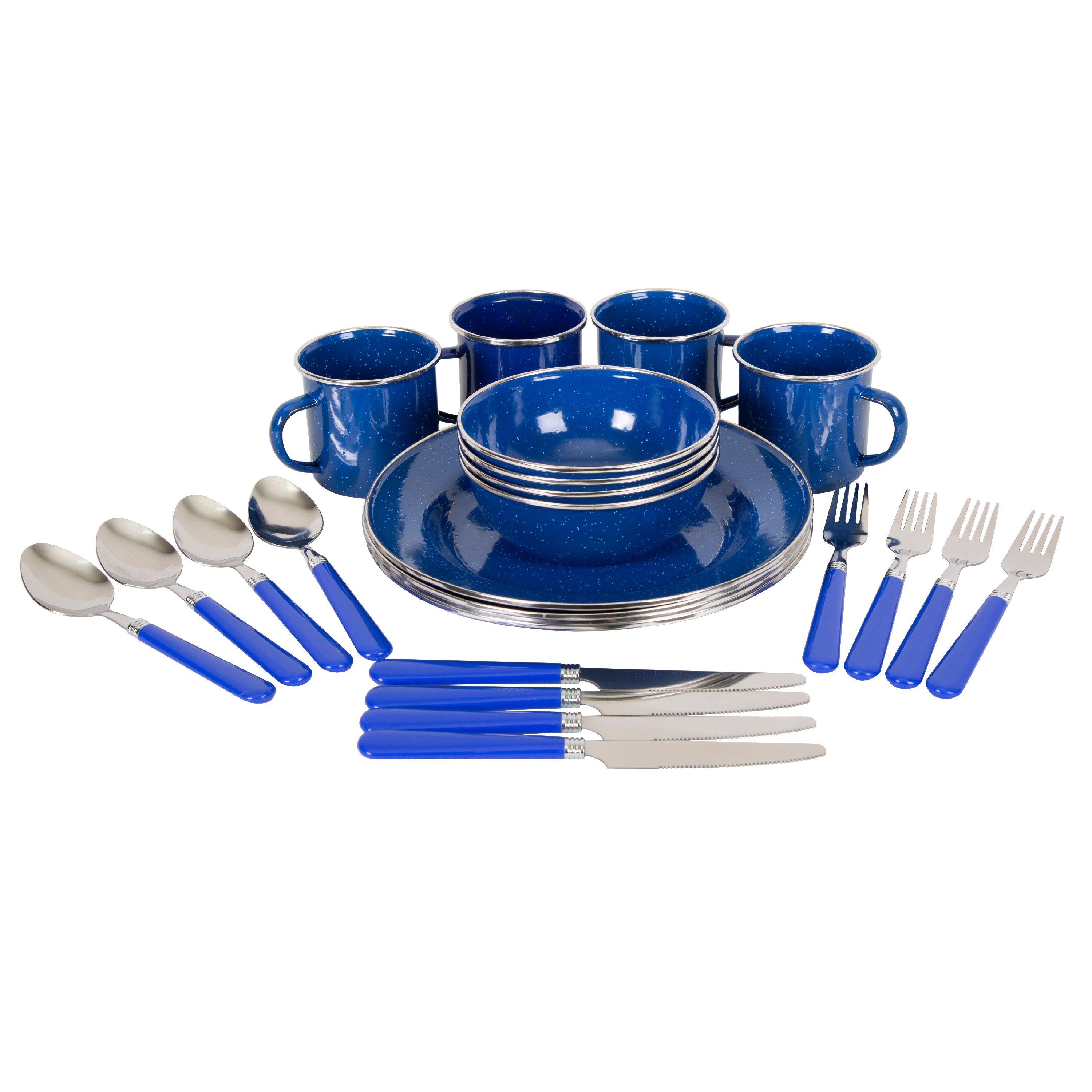 Stansport Enamel Camping Tableware Set - 24 Pieces - Blue