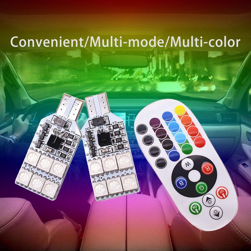 LESHP 12 LED Remote Control RGB Car Dome Light T10 5050 Reading Light Indicator Lamp - image 5 de 6