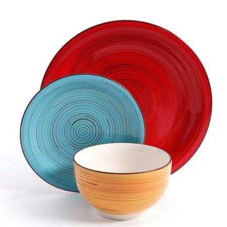 Better Homes Gardens Festival 12 Piece Ceramic Dinnerware Set Assorted Best Buy Dinnerware Sets
