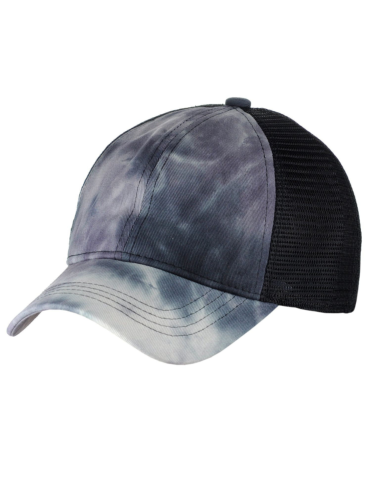 C.C Ponycap Messy High Bun Ponytail Adjustable Mesh Trucker Baseball Cap Hat, Tie Dye Black