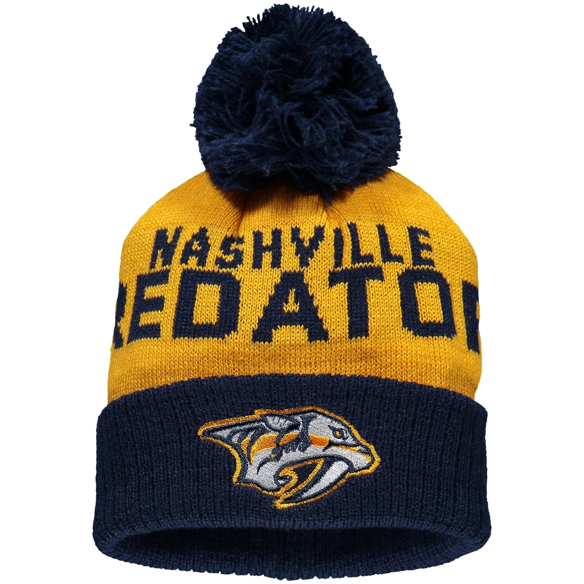Nashville Predators Newborn & Infant Block Wordmark Cuffed Knit Hat with Pom - Gold/Navy - OSFA