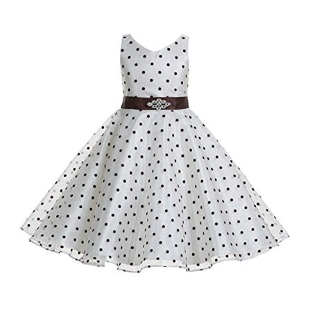Pageant Polka Dot - Ekidsbridal Polka Dot V-Neck Rhinestone Organza Flower Girl Dress Pageant Gown Birthday Girl Dress Evening Gown Holiday Dress Ballroom Gown Princess Dress Easter Summer Dresses Graduation Dress 184S