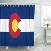 CYNLON Blue Patriotic Colorado Flag Souvenir Red White Create Your Bathroom Decor Bath Shower Curtain 60x72 inch