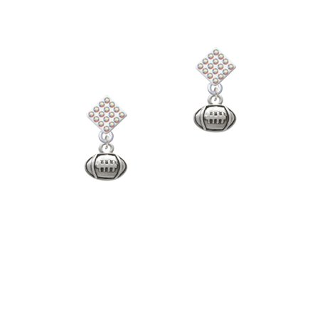 Mini Football White AB Crystal Diamond-Shape Earrings
