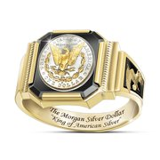 Men's Silver King Eagle Dollar Gold Plated Two-Color Ring