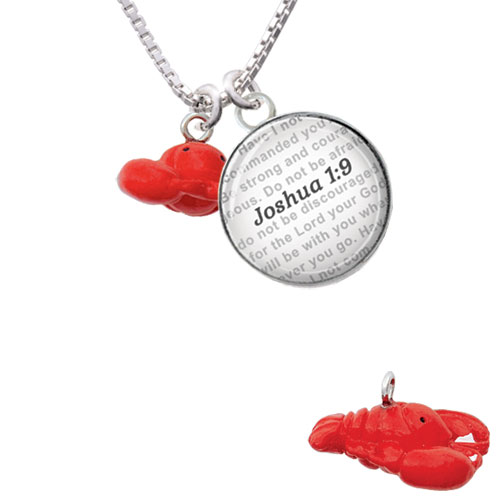 Resin Puffy Red Lobster - Bible Verse Joshua 1:9 Glass Dome Necklace