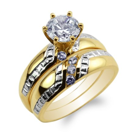 JamesJenny Womens Set 10K Yellow Gold Two Tone Round CZ Stylish Engagement Ring Size (Stylish Cubic Zirconia Ring)