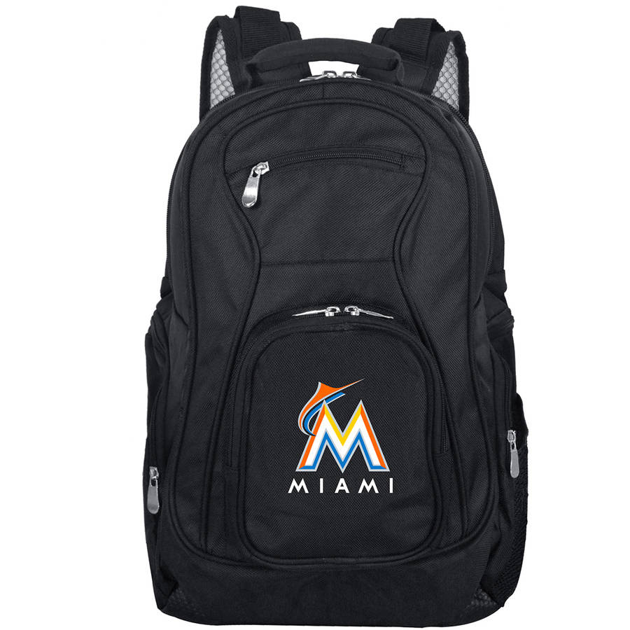 """Miami Marlins 19"""" Laptop Travel Backpack - Black - No Size"""