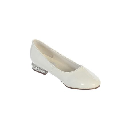 - Girls Ivory Glitter Rhinestone Jeweled Heel Patent Leather Flats