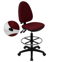 Multi Function Drafting Stool with Adjustable Lumbar Support, Burgundy or Navy Blue