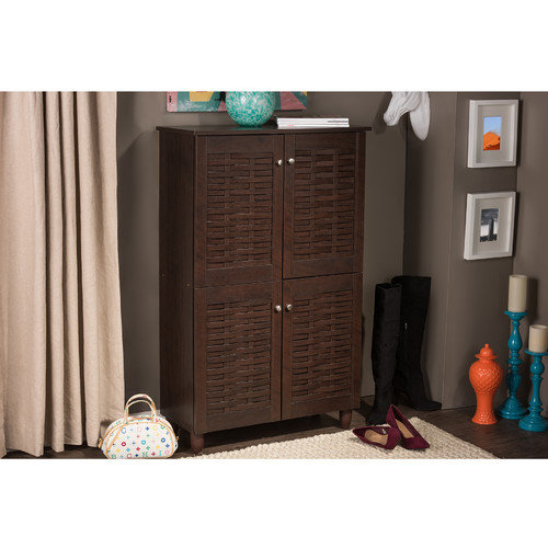 Wholesale Interiors Baxton Studio Winda 4 Door Shoe Storage Cabinet