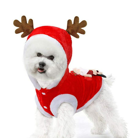 GLiving Dog Cat Christmas Outfit Coat Sweater Santa Claus Cartoon Costume Soft Warm Fleece Pet Winter Party Dress Up Clothes Jumpsuit Apparel for Puppy ()