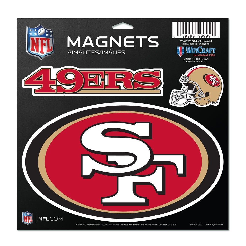 San Francisco 49ers Official NFL 11 inch  x 11 inch  Car Magnet by Wincraft
