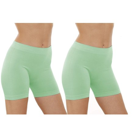 2 Pack Women's Seamless Stretch Yoga Exercise Shorts (Mint) (Womens Seamless Basic Shorts)