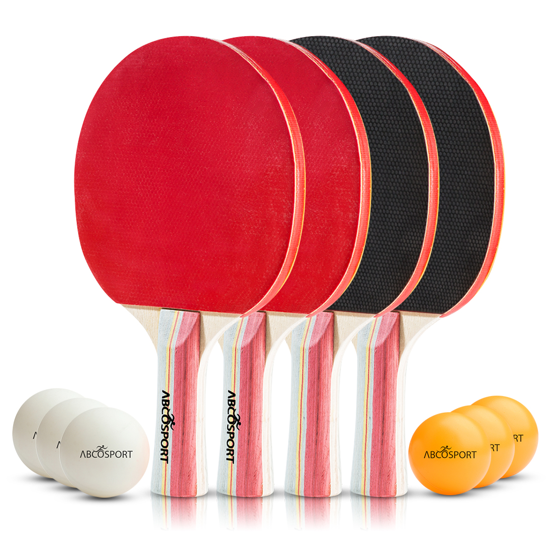 Abco Ping Pong Set � Pack of 4 Premium Ping Pong Paddles Rackets and 6 Ping Pong Balls � 5 Ply Blade with 5.6 MM... by