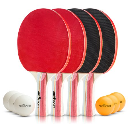 Abco Table Tennis Set – Pack of 4 Premium Table Tennis Paddles/Rackets and 6 Table Tennis Balls – 5 Ply Blade with 5.6 MM Thickness – Ideal for Professional & Recreational