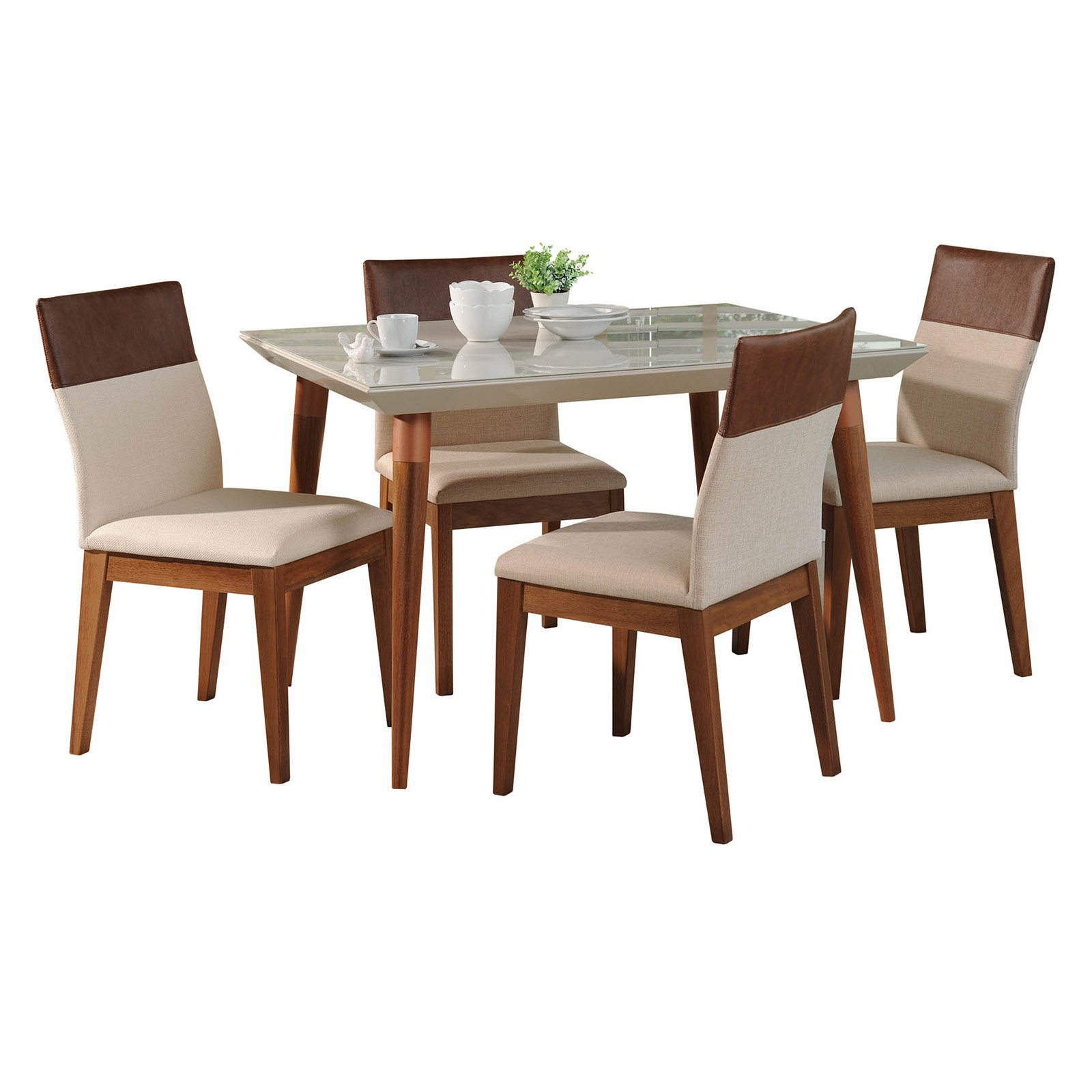 Manhattan Comfort Utopia and Duke 5 Piece Dining Table Set