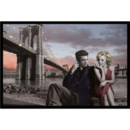 Framed Brooklyn Bridge With Marilyn And Monroe James Dean By Chris Consani 36X24 Art Print Poster Wall Decor Celebrity Movie Stars Romance Red Dress And Red Lips Icons Hollywood New York City