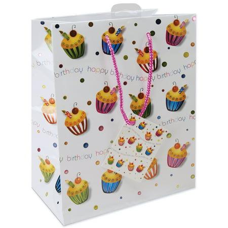 Large Foil Gift Bag, Birthday Cupcake