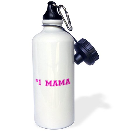 3dRose #1 Mama - Number One Mom in hot pink - for worlds greatest and best moms - good for Mothers day, Sports Water Bottle, 21oz