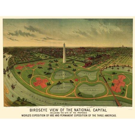 Panoramic Print - National Mall Washington DC - Johnson 1888 - 23 x 30.23