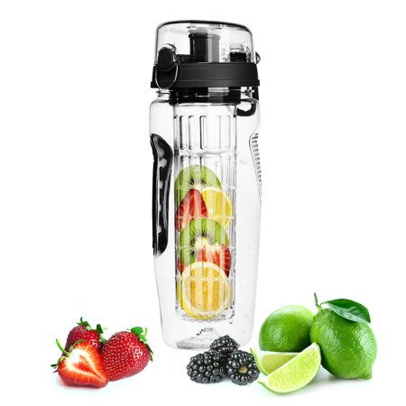 Black Ultra Portable Fruit Infusing Water Bottle 32OZ (Filter Fruit Water Bottle)