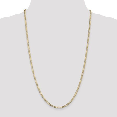 14K Yellow Gold 3mm Concave Open Figaro Chain - image 4 de 5