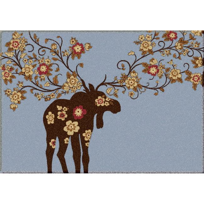 Moose Blossom Blue Rug - 4 x 5