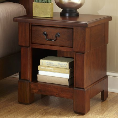 Aspen Log Furniture - Home Styles The Aspen Collection Night Stand, Rustic Cherry/Black