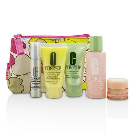 Clinique - Travel Set: Facial Soap 30ml + Lotion 3 60ml + DDMG 30ml + Serum 10ml + All About Eyes 7ml + Bag