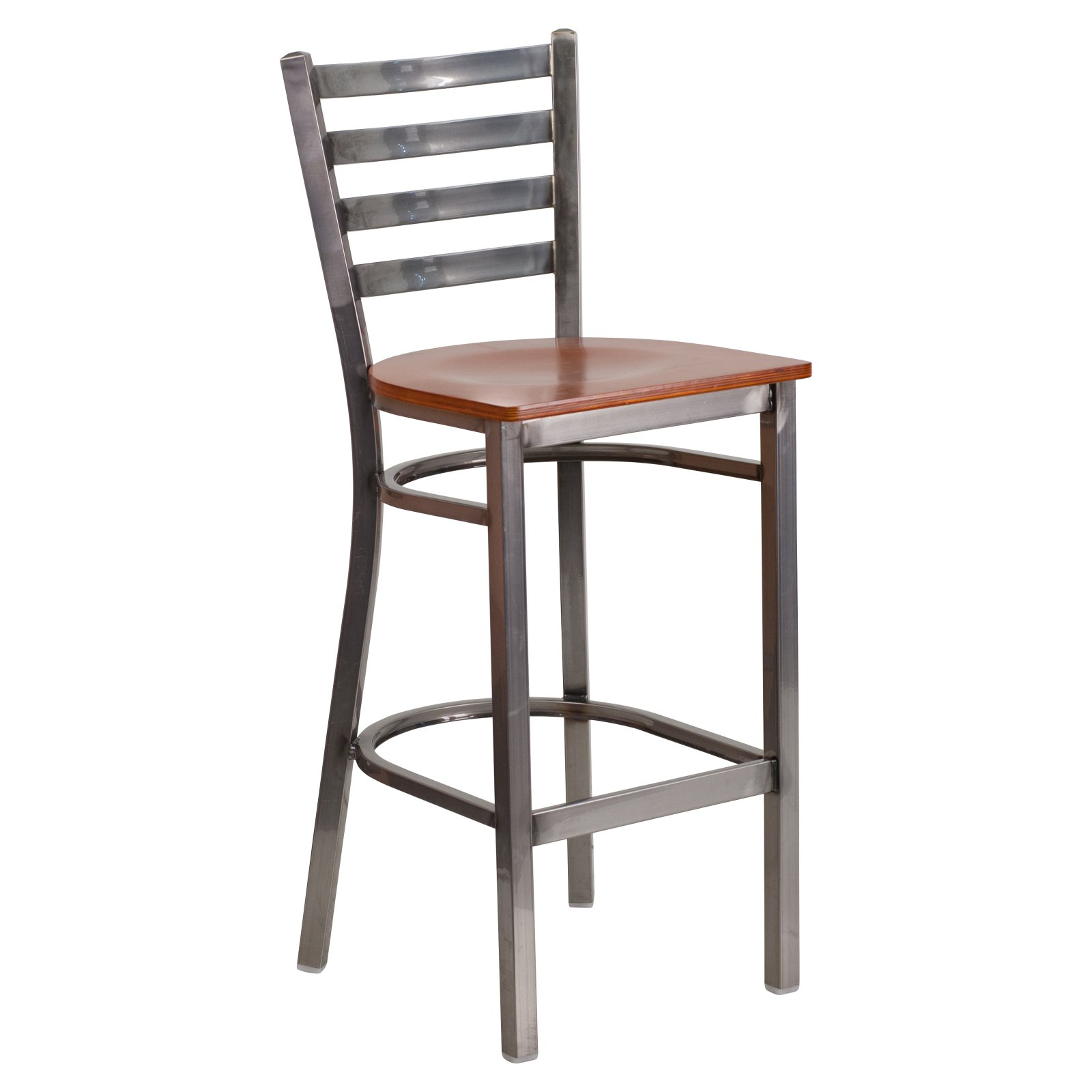 Flash Furniture HERCULES Series Clear Coated Ladder Back Metal Restaurant Barstool, Wood Seat, Multiple Colors